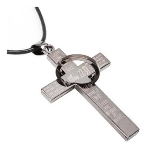 colar cordão masculino couro + pingente cruz aço matheus