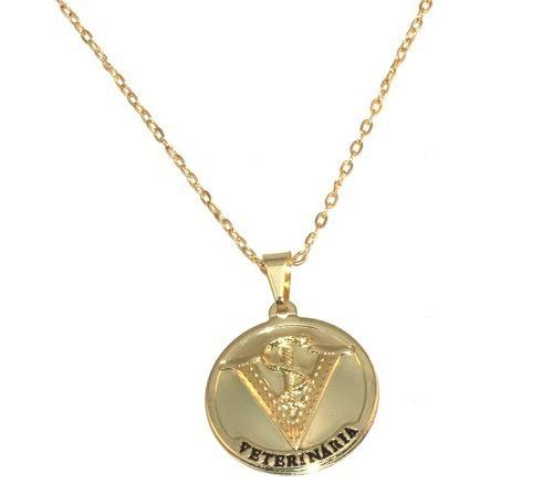 b0e5adc381145 Colar Cordão Medalha Veterinaria Folheado Ouro 18k - R  14,89 em ...