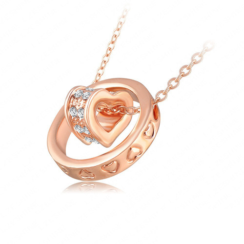 colar cordão ouro rose - branco 18k cristais austríacos