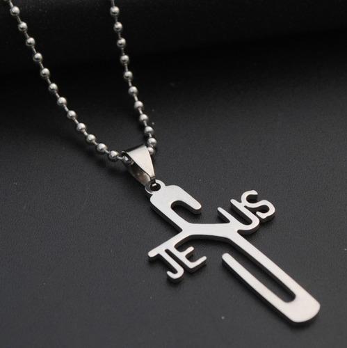 colar cordão pingente jesus aço inoxidável