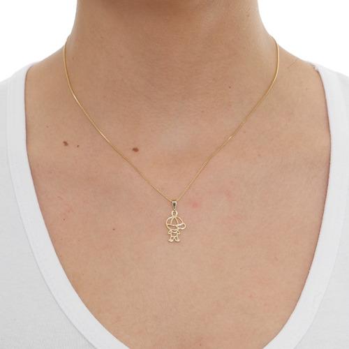 colar cordão pingente menino filho vazado folheado em ouro18