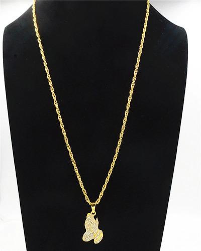 colar cordão pingente mão fé grande com brilhantes ouro