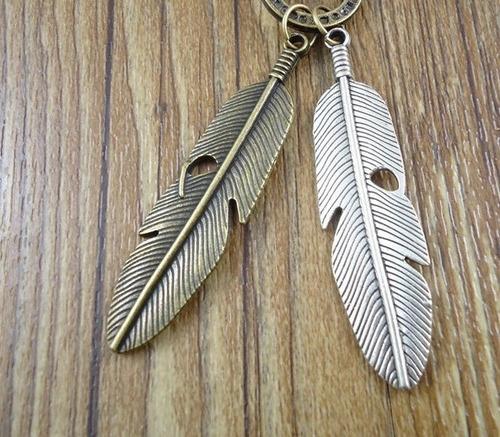 colar cordão pingente pena em couro feminino masculino