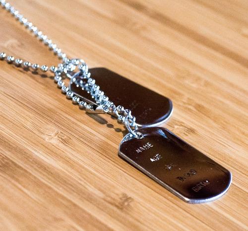 colar cordão placa militar masculino aço inox