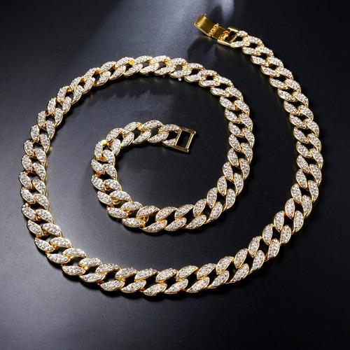 colar corrente 75cm 15mm cravejada ouro hip hop - lxbr bl18
