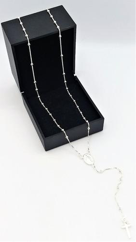 colar corrente bolinha terço e crucifixo prata 925  ref.262