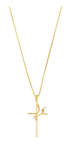 colar corrente com pingente  fè banhado ouro 18k semi joia