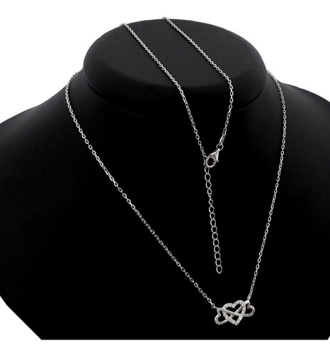 colar corrente e pingente coração b-1769 prata 925 legitima