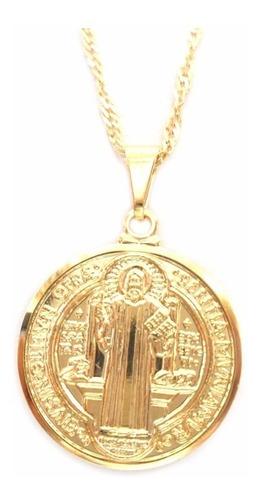colar corrente e pingente medalha são bento folheado a ouro
