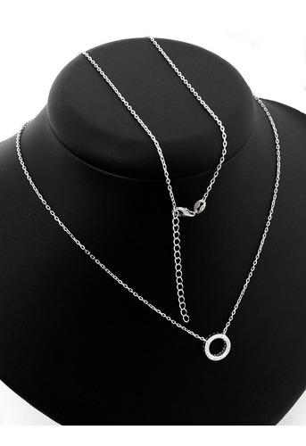 colar corrente e pingente medalha zircônia b-1808 prata 925