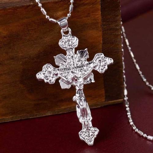 colar corrente em prata esterlina 925 + crucifixo prata show