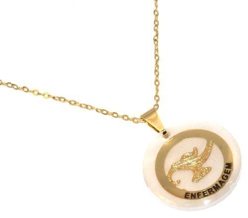 ab84c6e126e7d Colar Corrente Enfermagem Enfermeiro Folheado Ouro Promoção - R  53 ...