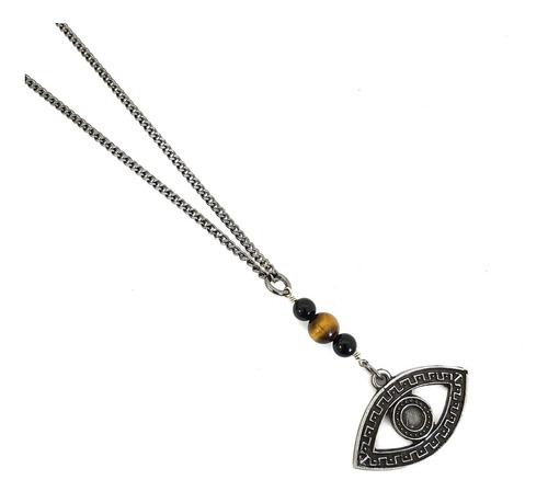 colar corrente masculina feminina olho grego onix horus