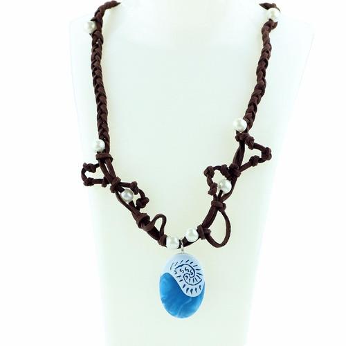 colar corrente moana pedra azul disney - pronta entrega