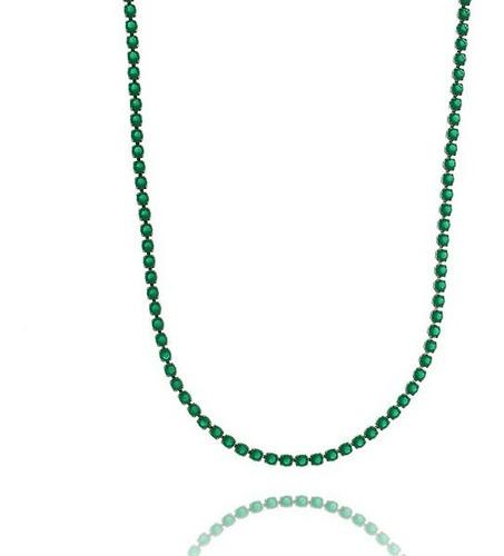 colar corrente riviera 80cm prata ródio esmeraldas zirconias
