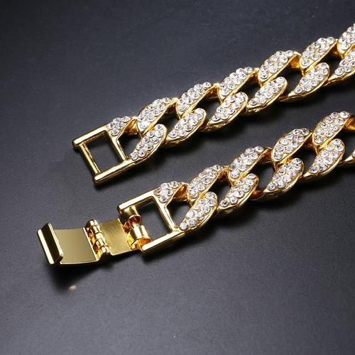 colar cravejada 15mm ouro 18k hip hop lxbr 48cm 60cm 75cm