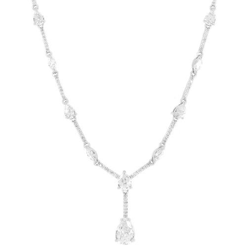 colar cravejado gota navete ródio zircônia transparente