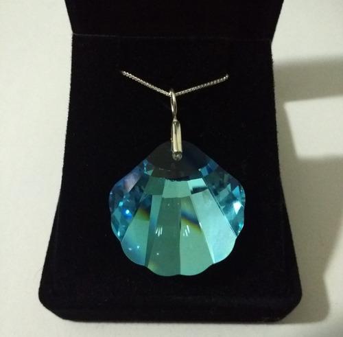 colar cristal swarovski concha do mar 2,8 cm em prata 925