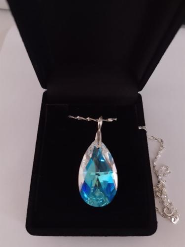 colar cristal swarovski gota blue ab  em prata 925