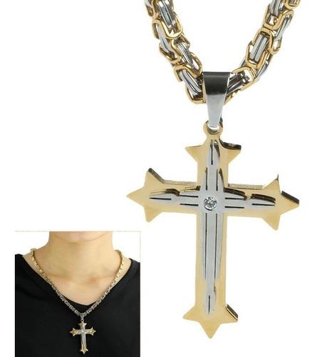 colar crucifixo grande bizantino de aço inoxidável