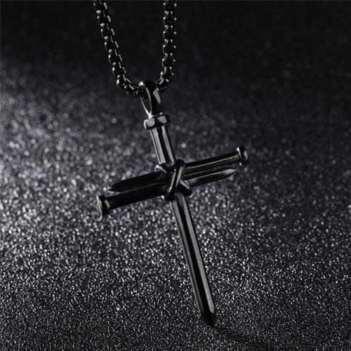 colar crucifixo prego grande de aço inox