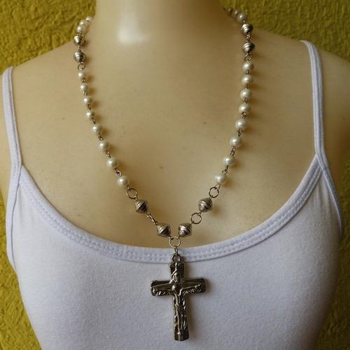 colar cruz com perolas ref: 7723