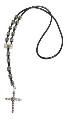 colar cruz masculino em couro / prata velha - celebridades