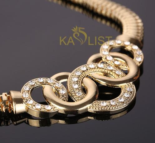colar de casamento para mulheres 18 k banhado a ouro.