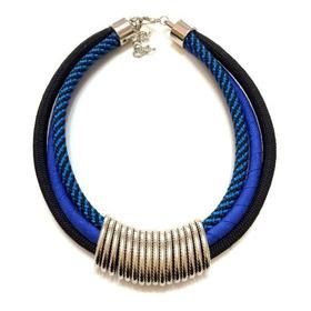 Colar De Corda Elos Azul