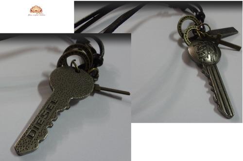 colar de couro masculino, cordão masculino chave