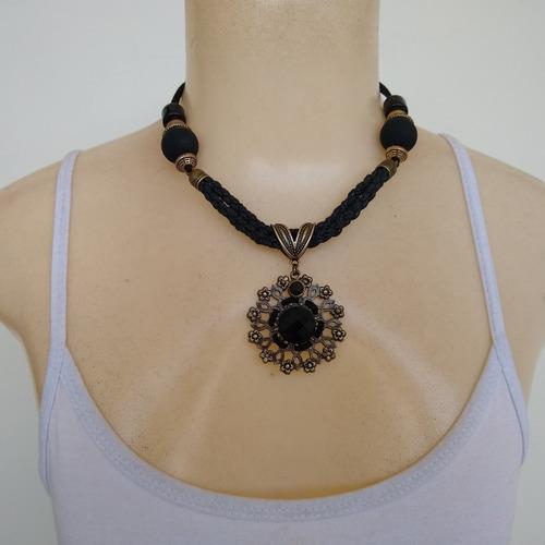 colar de couro, metal e acrílico ref: 9548 - moda