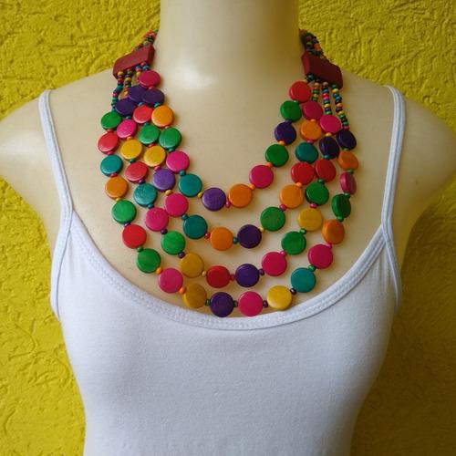 colar de madeira colorido feminino  ref: 7973