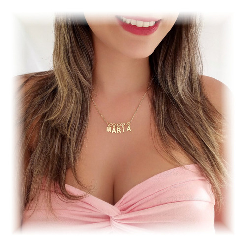 colar de nome, semi joia, banhado ouro 18k, atacado, revenda