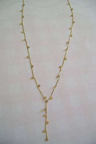 colar de ouro 18k com pedras de zircônia