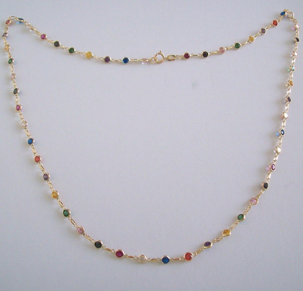 Colar De Ouro 18k Com Pedras De Zircônias Coloridas - R  779,99 em ... 961ed06821