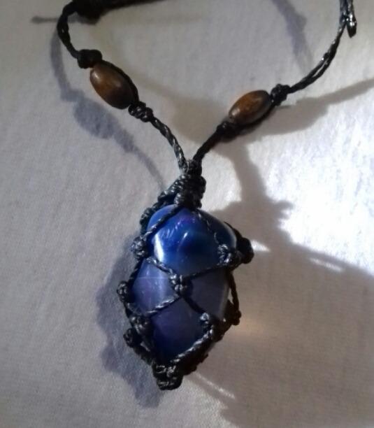 079b1aad691 Colar De Pedra Ágata Azul Artesanal - R  15
