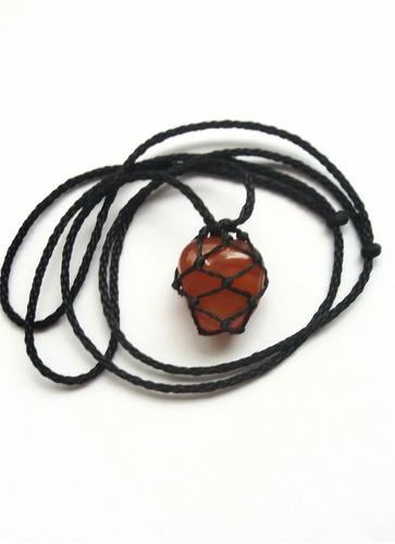 colar de pedra castroada signo escorpião ágata de fogo