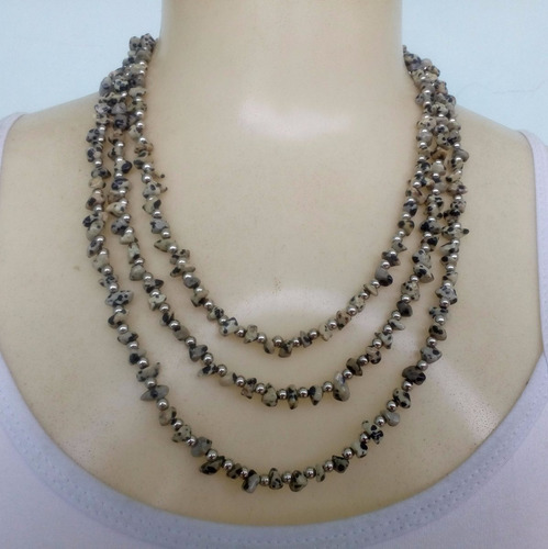 colar de pedra jaspe dalmata ref: 4566 - bijuterias