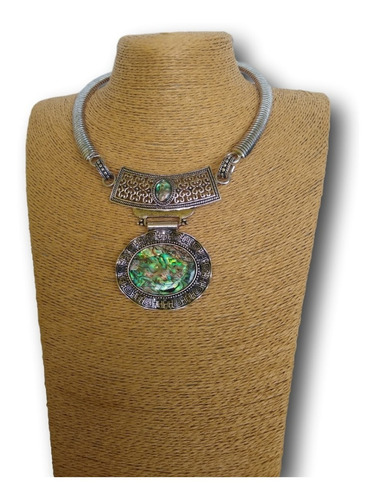 colar de pedra natural abalone ref: 9313 antonio bijuterias