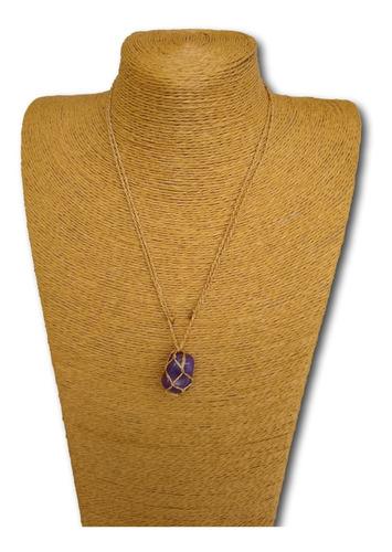 colar de pedra natural ágata roxa ref: 7882