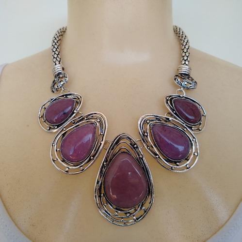 colar de pedra natural ametista ref: 9280