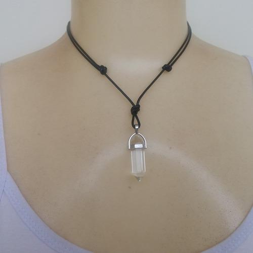 colar de pedra natural cristal ref: 9579 (dúzia)