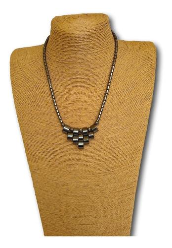 colar de pedra natural hematita ref: 9073