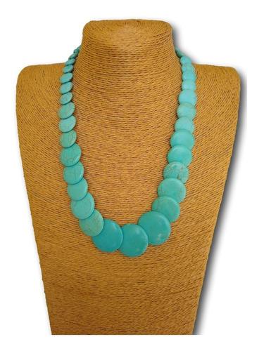 colar de pedra natural howlita turquesa ref: 4116