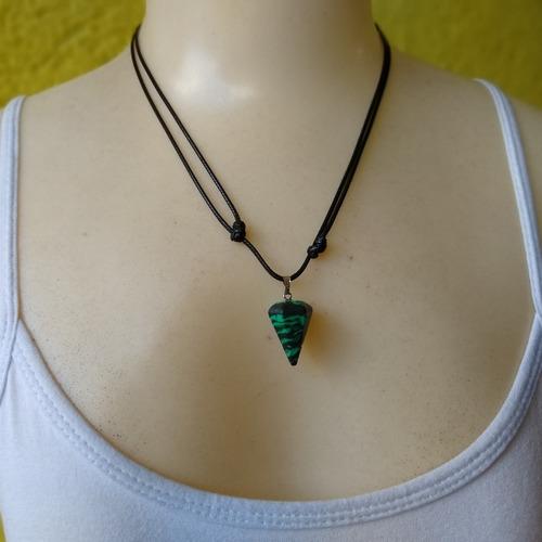 colar de pedra natural malaquita  ref: 9211
