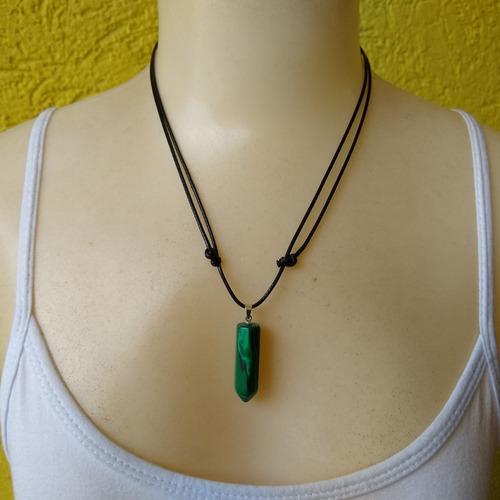 colar de pedra natural malaquita ref: 9222