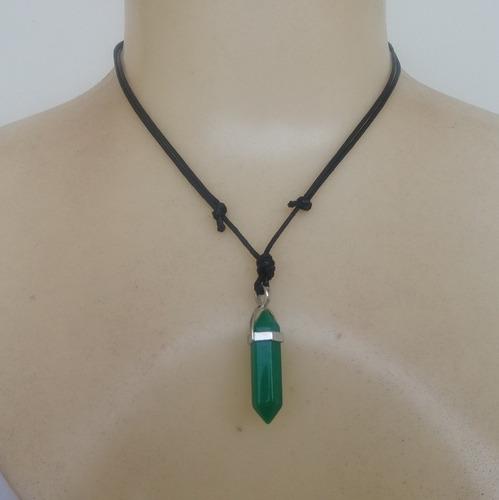 colar de pedra natural quartzo verde ref: 7445 - moda