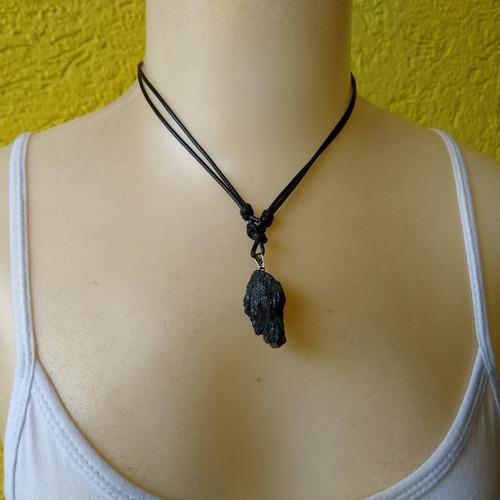 colar de pedra natural turmalina negra ref: 7993