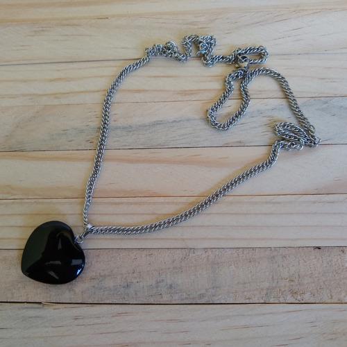 colar de pedra ônix com corrente de aço  ref: 9436