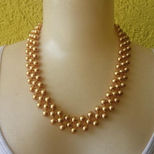 colar de pérola em abs dourada ref: 7584